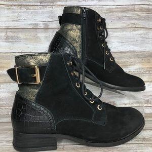Aldo 9M Black Suede Lace Up & Zip Moto Ankle Boots